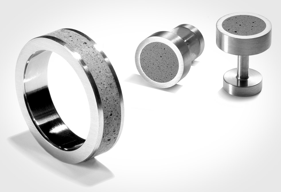Concrete Ring and cufflinks by Konzuk