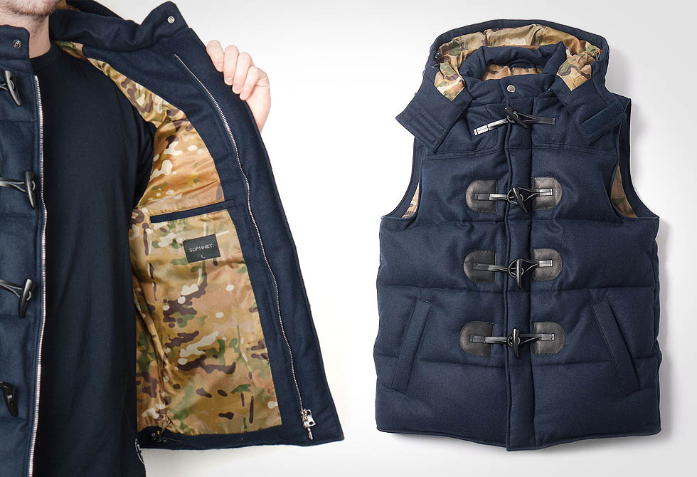 Sophnet Light Melton Duffle Hood Down Vest