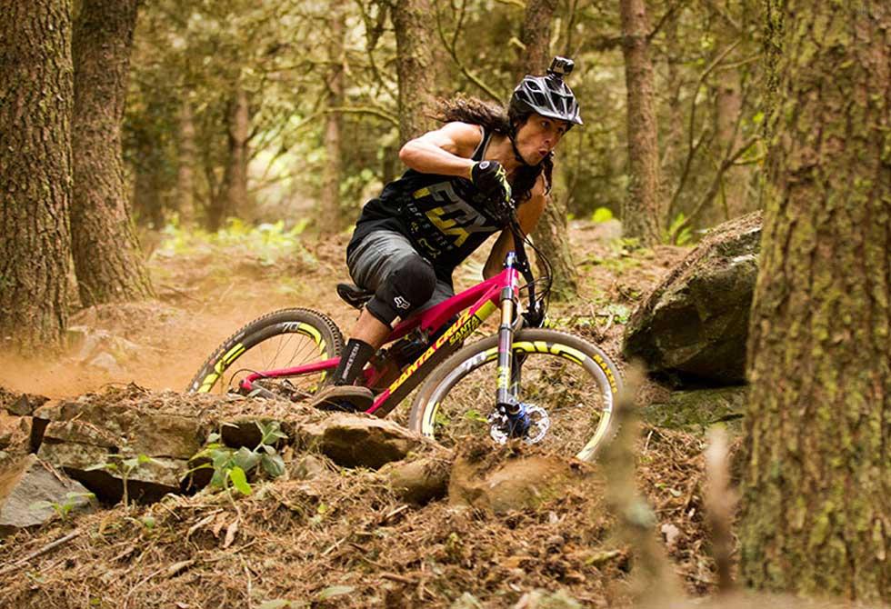 Josh 'Ratboy' Bryceland smashing the mountain bike trails of Madeira on his new Santa Cruz Bronson.