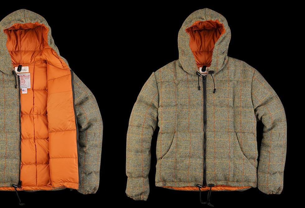 Unionmade Tweed Down Hooded Sweatshirt