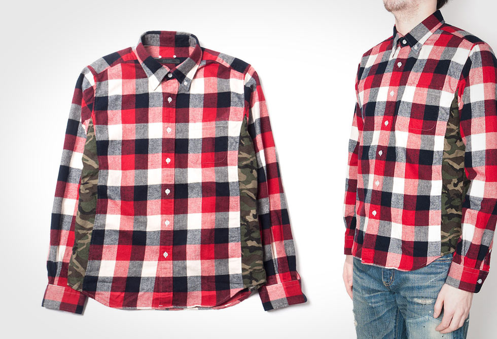 Camouflage Panel Flannel B.D Shirt by Sophnet