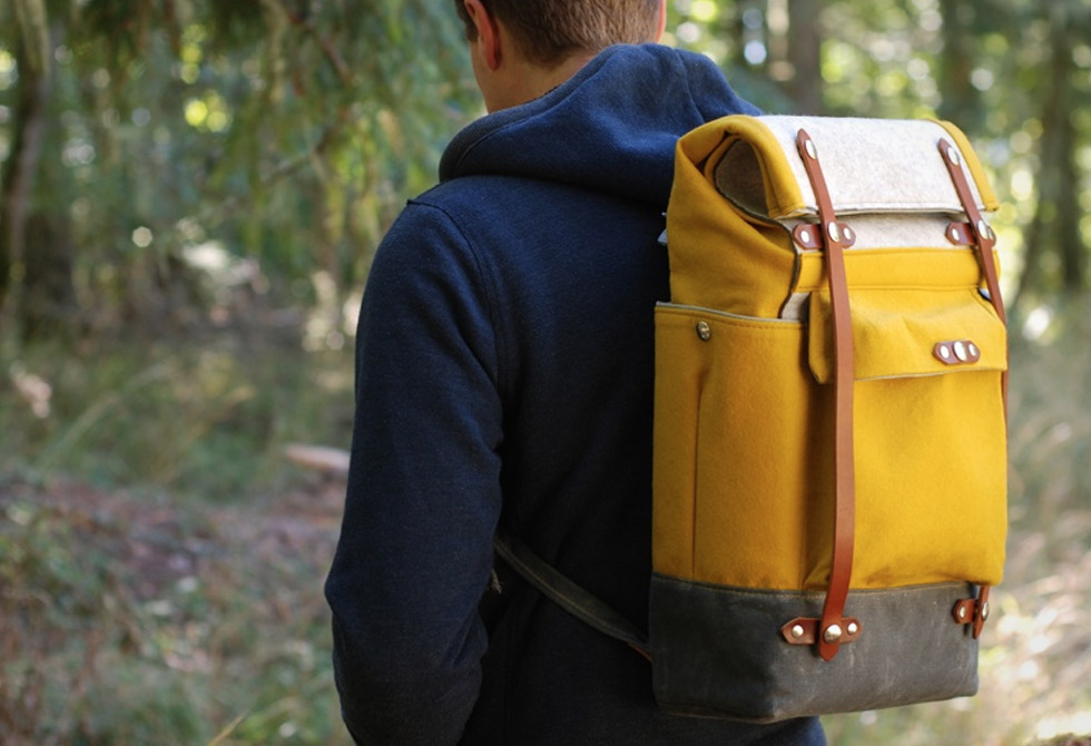Ochre Yellow Felt Roll-Top Backpack - LumberJac