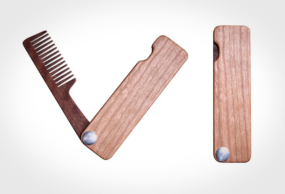 Folding Wood Beard Comb - LumberJac